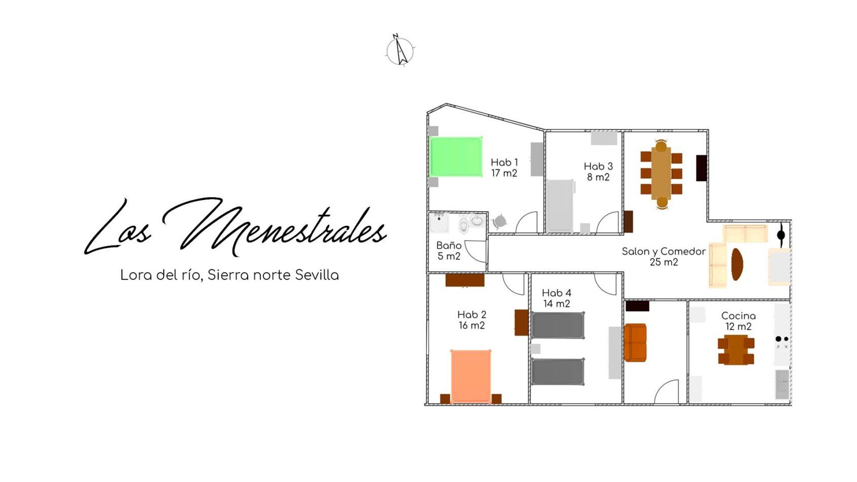 Plano Casa Rural Los Menestrales - Lora del Río width=